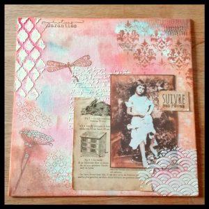 Tableau mixed-media vintage Alice au Pays des Merveilles