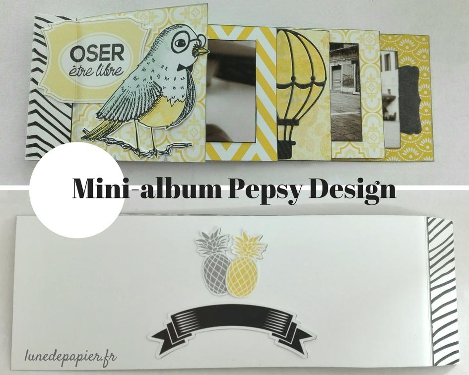 modèle de mini-album scrapbooking facile jaune noir et blanc