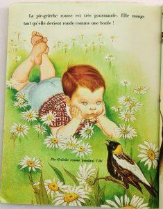 dessin enfant vintage années 50 champ de fleurs