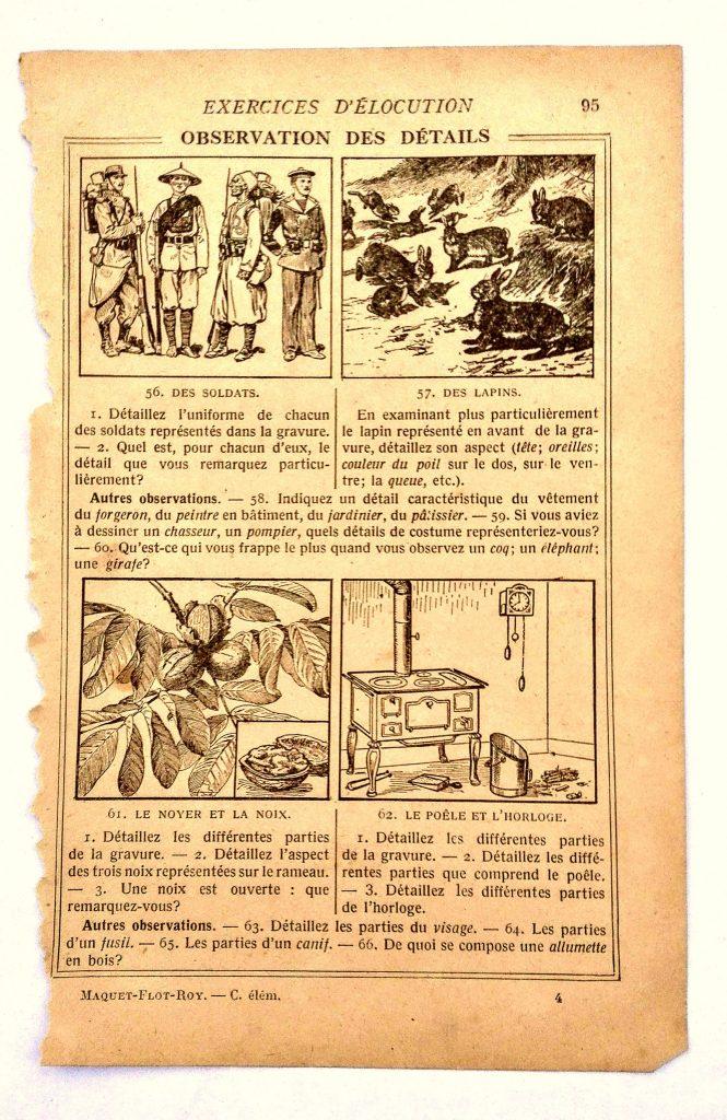 exercice d'élocution et d'observation vieux livre d'école illustrations de soldats, animaux, plantes et foyer