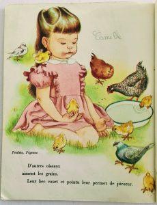dessin vintage de la ferme enfant avec des poussins
