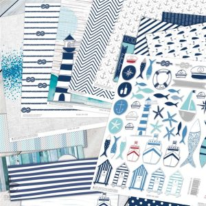 Papiers scrap à motifs et embellissement thème marin