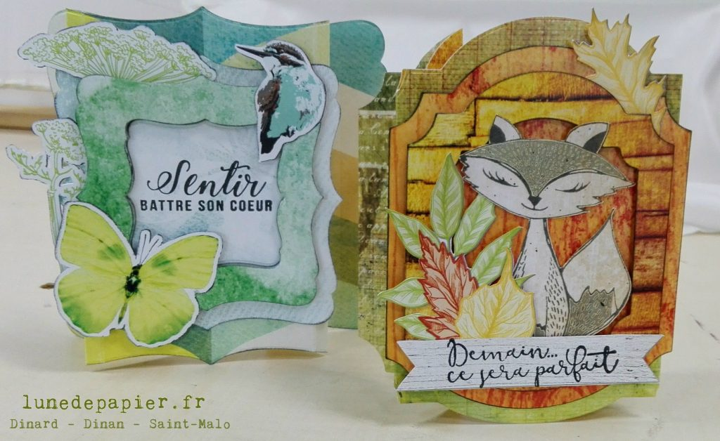 Cartes originales en relief pour le printemps et pour l'automne