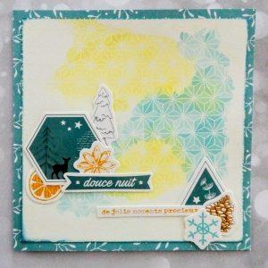 Carte aquarelle hiver couleurs douces motif effet resist avec la poudre à embosser