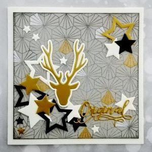Carte de voeux or blanc et noir sur fond gris