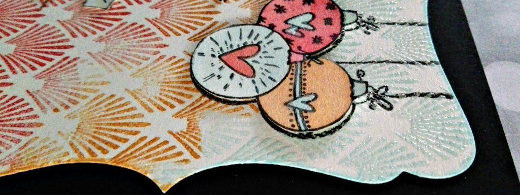 Carte de voeux tampons en relief et fond embossage à chaud