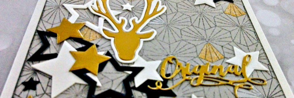 Détail carte de fêtes de fin d'année or noir et blanc